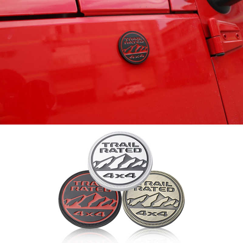 1pcs Red Jeep Emblem Badge Decal Sticker Fit For Jeep Car Model Combo Set 1pcs Red Jeep Front Grille Emblem 2pcs Red TRAIL RATED Chromed Emblem Badge Decal Sticker