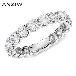 Женское кольцо из стерлингового серебра 925 пробы, 4 мм, с круглой огранкой, полностью вечное, обручальное, юбилейное, ювелирное изделие
