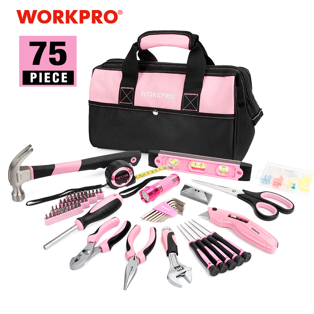 WORKPRO 75PC Ensemble d'outils ménagers Rose Accueil Outils Prescision Tournevis Set Flashlight Tool Bag