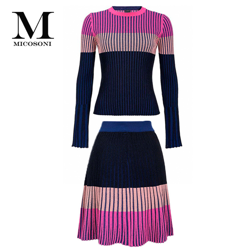 High-End Quality Italian Style Suit 2020 Spring New Women's Clothing Color Panel Striped Sweater A- Line Skirt Two-Piece Set