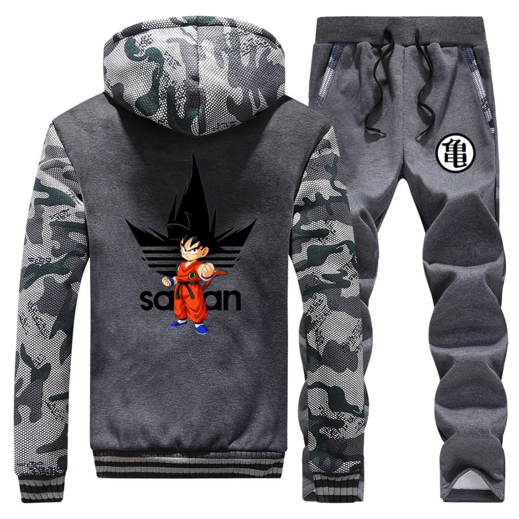 New 2019 Winter Hoodies Mens Dragon Ball Camouflage Coat Thick Suit Male Warm Jackets Hoody Cartoon Streetwear+2 Piece Set Pants