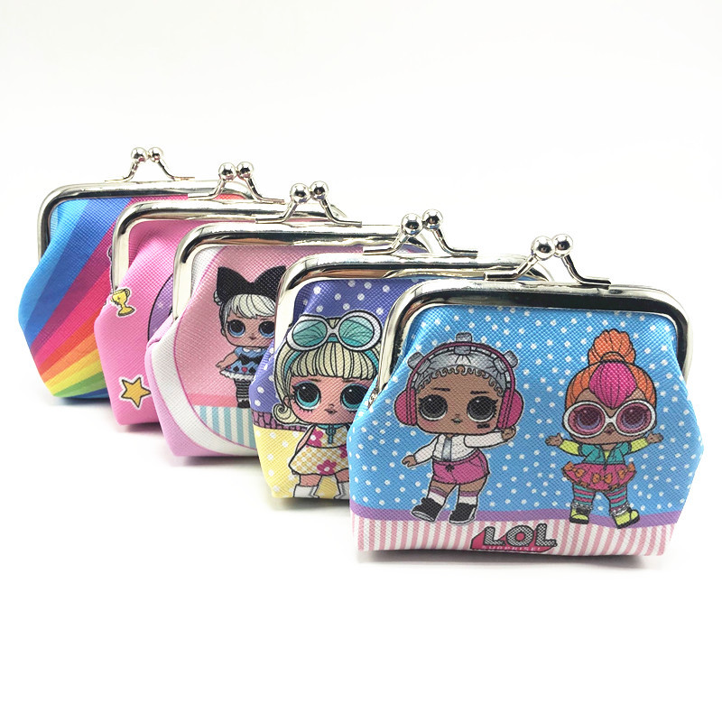 LOL SURPRISE! Girl Mini Coin Purse Cartoon Doll Toys Small Wallet Buckle Print Handbag Kid Student Key Coin Bag Promotion Gift