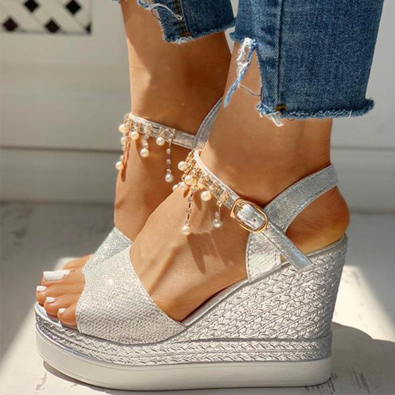 2019 New Women Wedge Sandals Summer Bead Studded Detail Platform Sandals Buckle Strap Peep Toe Thick Bottom Casual Shoes Ladies