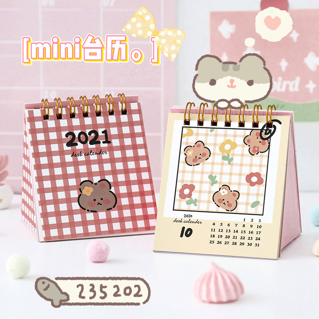 2020-2021 Desktop Cute Mini Calendar Notepad Cartoon Self Discipline Clock In Calendar Plan 2021 Calendar Cards  Office Desk