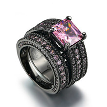2 pieces / set of pink square crystal luxury ring with top zirconium CZ black gold cocktail party Party Jewelry Gift