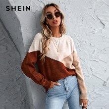 SHEIN-suéter de gran tamaño con manga raglán para mujer, suéter informal de manga larga con cuello redondo para otoño