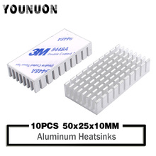 10Pcs YOUNUON  50*25*10mm Aluminum Heat sinks Heatsink 50x25x10mm Sink for PCB Device LM2596 2577 2587 comes with 3M Tape