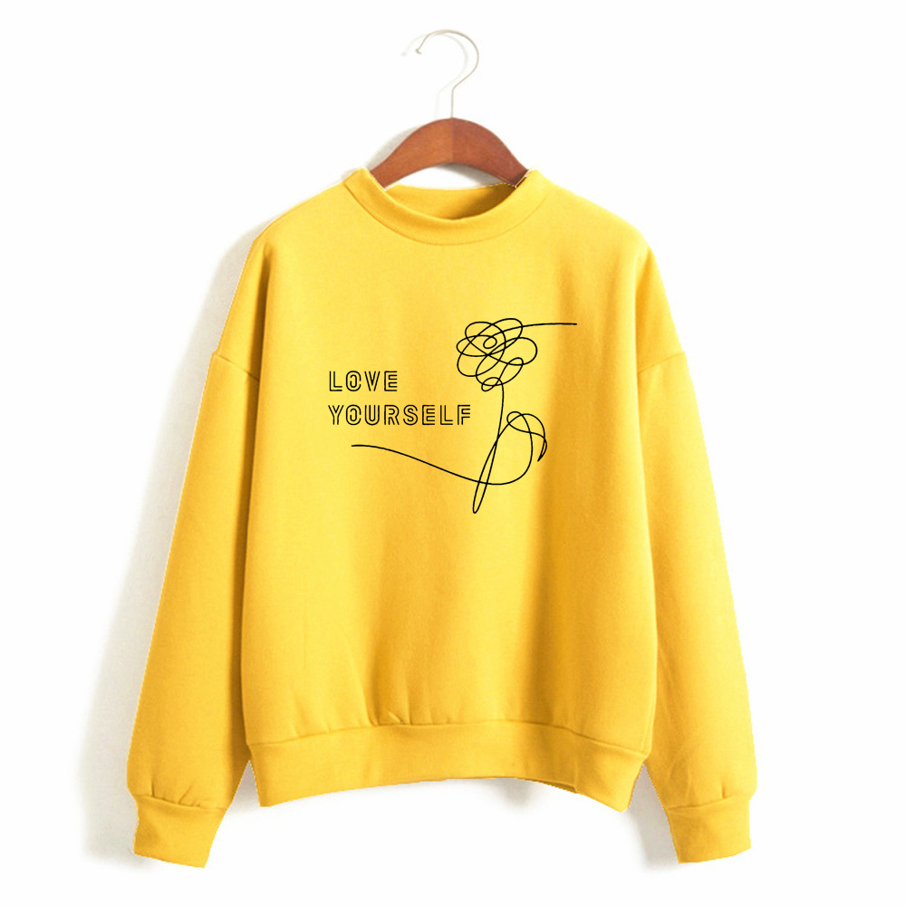 Harajuku Kpop Love Yourself Felpe Roupas Sweatshirt Hoodies Women Clothing Plus Size Oversize Hoodie