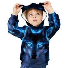 3D Hoodies Children Pullover Sweatshirts Kids Head-Print Animal Girls Boys Cat Winter
