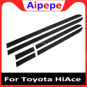 HotSell 6pcs Carbon Fiber ABS Silver Plastic Car Door Molding Trim Strip for Toyota HiAce 2019 Car Accessories Car Styling