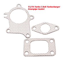 3PCS T3/T4 Turbo Gasket Combo Kit 5 Bolt Turbocharger Downpipe Gasket Combo Kit For Garrett garrett turbocharger rebuild kit gt1749v turbo core 713517 802418 turbo chra for fo r d fo cus 1 8 tdci 74kw 85 kw
