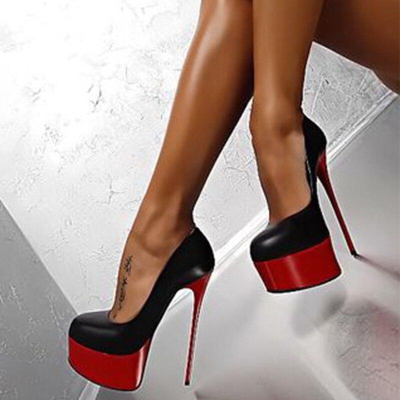Sexy Pumps Wedding Women Fetish Shoes Concise Woman Pumps Latform Very High Heel Stripper Flock Pumps 16 Cm  Erf67