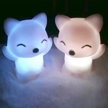 Lovely Foxes Shape LED Night Light Lamp 7 Changing Colors Energy Saving Decorations WWO66
