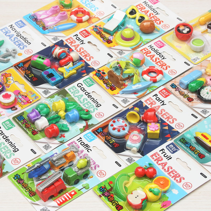 20set/lot Super Hot!!3D Simulation Fruit/food/animal/tool/car Blister-card Erasers/32 Model For Choic