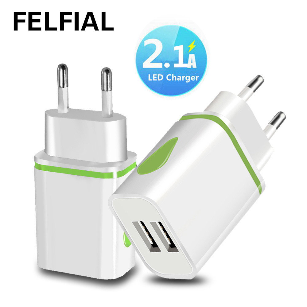 USB Charger Dual 2 port EU 5V 2A Travel Wall Adapter LED Light Mobile Phone usb charger For iphone 6 7 Samsung Xiaomi Huawei LG