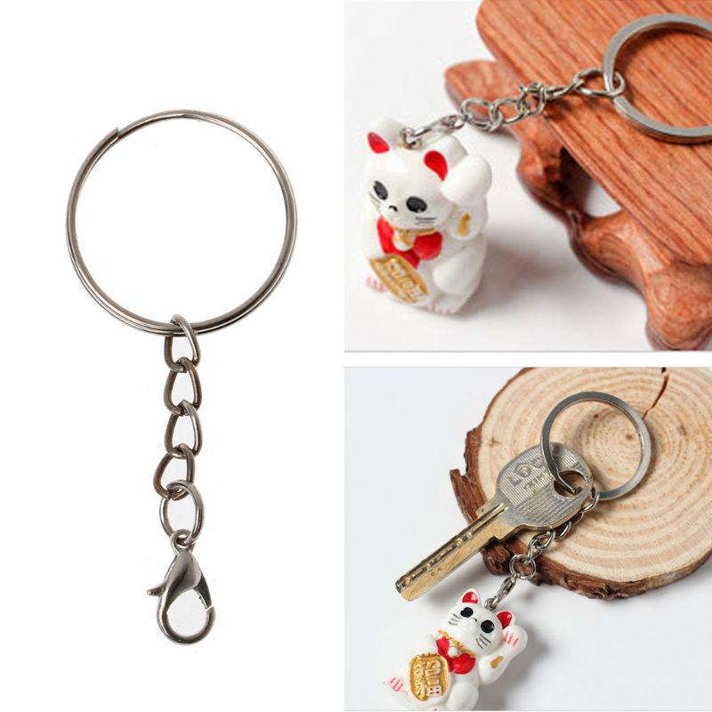 20Pcs Metal Split Lobster Clasp Hook Key Chain Rings with Chain Jewelry Making