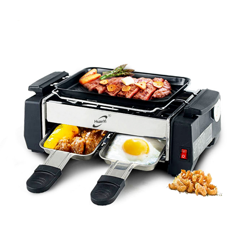 Electric BBQ Grill 1000W Travel Mini Grill Raclette Grill Smokeless Electric Hotplate For 2-4 Person Pan Electric Griddle 220V