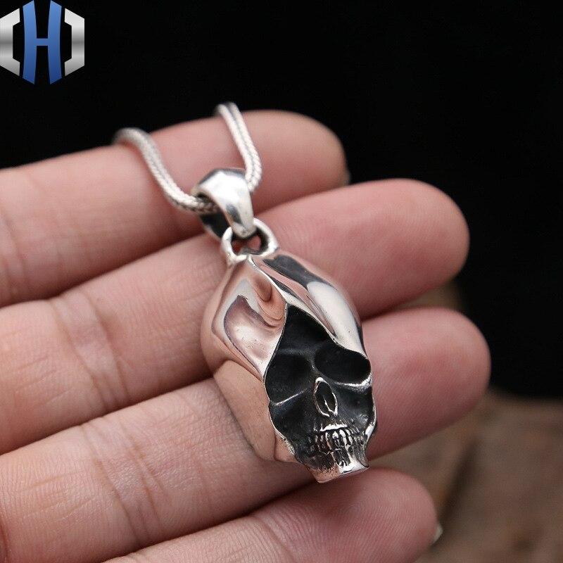 S925 bijoux en argent Sterling rétro Thai argent Punk mode Pop Simple crâne Assassin personnalité pendentif
