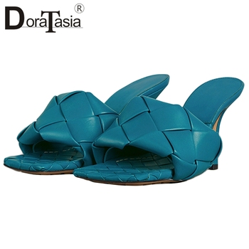 DORATASIA 2020 Trendy Luxury Brand Fretwork Knot Mules Sexy slip-on Heels Summer Mues Women Thin High Heels Dress Shoes Woman