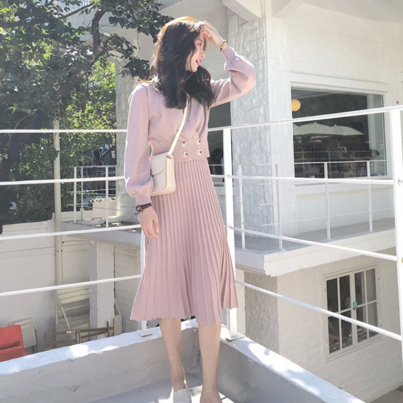 HAMALIEL New Fashion Women Pink Knitted Double-breasted Short Sweater Coat Twp Piece Set + Halter Pleated Midi Dress Skirt Set