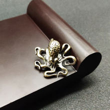 Latão octopus decoração para casa antigo cobre estatuetas animais miniaturas ornamento de mesa acessórios criativo mesa chá animais artesanato