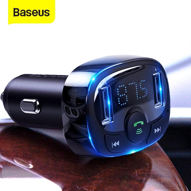 Baseus FM samochodowy zestaw głośnomówiący, z Bluetoothem, odtwarzacz MP3 z ładowarką samochodową z podwójnym wejściem USB, modulator FM, przekaźnik