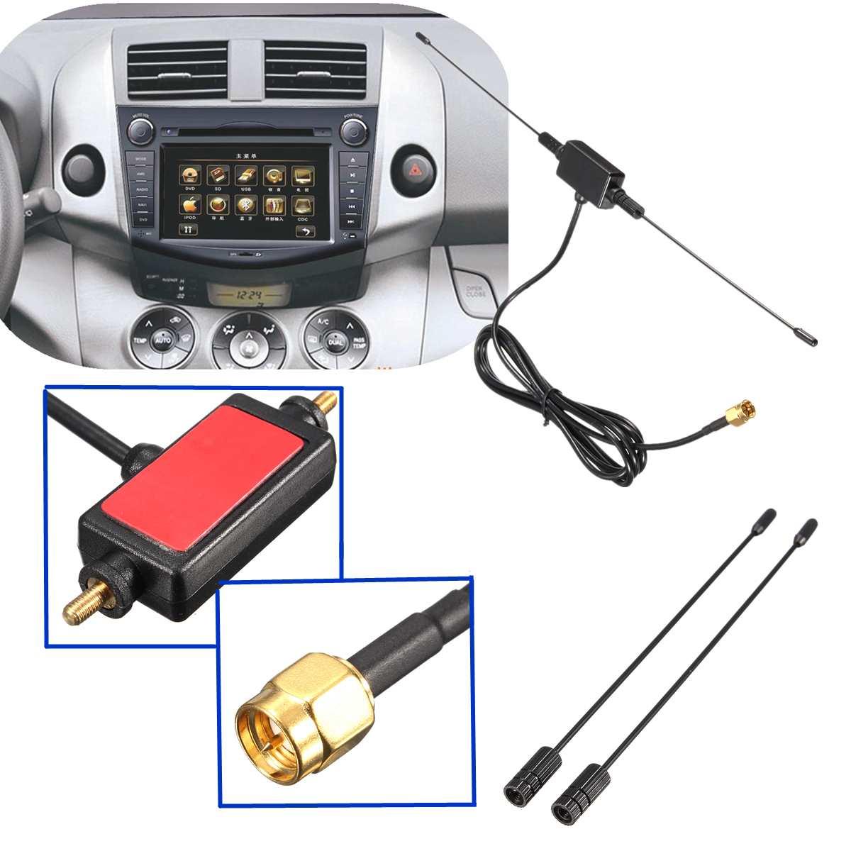 Universal Car Digital TV Antenna 5ft In Car Radio Digital DVB-T ISDB-T TV Signal 6dBi Antenna 433 MHZ Amplifier 10 -