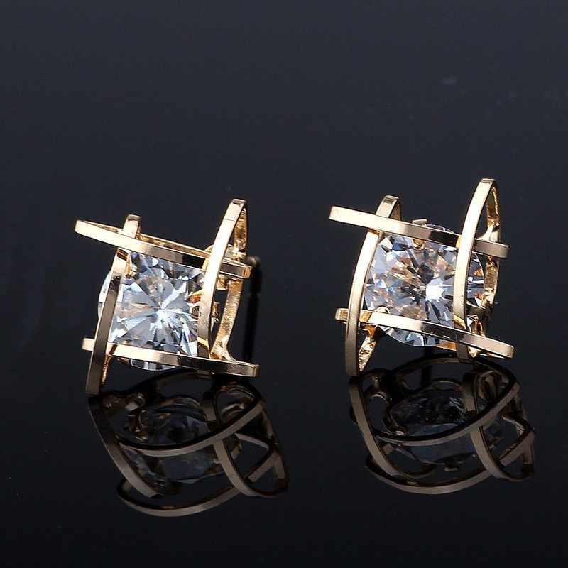 Pendientes de mujer 2019 Europa y la Nueva joyería geométrica Cuadrado hueco triángulo pendientes de circonita de moda joyería de banquete