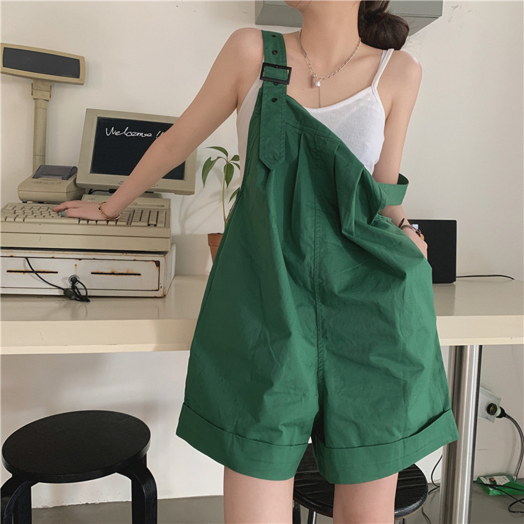 H6aba588454a14b73a975a2cdb73ecec2s - Summer Loose Fitting Wide Leg Solid Overall Shorts