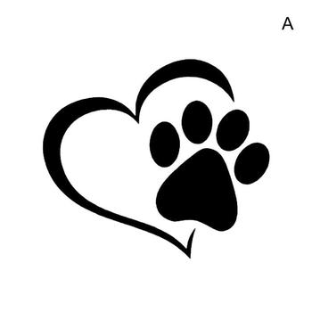 Car Sticker Cute Cartoon Dog Paw With Peach Heart Cat Love Pet Dog Car Decal Accessories Animal Car Sticker image