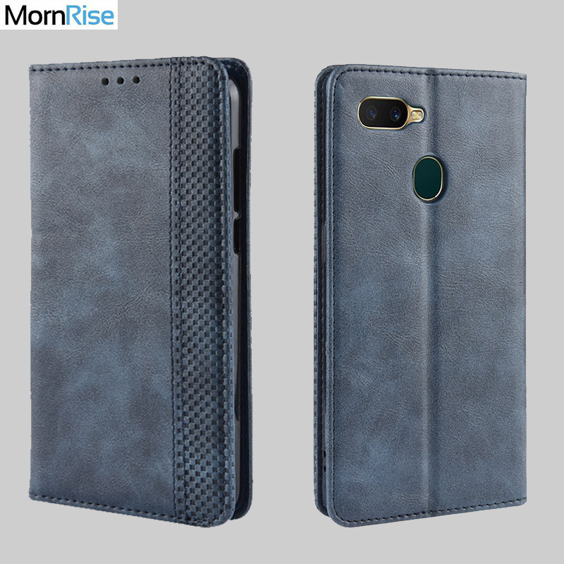 Luxury Retro Slim Magnetic Leather Flip Cover For <font><b>OPPO</b></font> <font><b>A5S</b></font> / A7 <font><b>Case</b></font> Book <font><b>Wallet</b></font> Card Slot Stand Soft Cover Mobile Phone Bags image