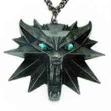 Magia escola geralt de rivia verde cristal lobo cabeça de lobo medalhão pingente selvagem caça 3d jogos monstro animal corrente colar