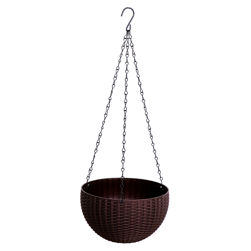 Круглый пластик подвесной корзина плетеный узор цветок горшок балкон сад растение корзина дом украшение кашпо Gardeb поставка