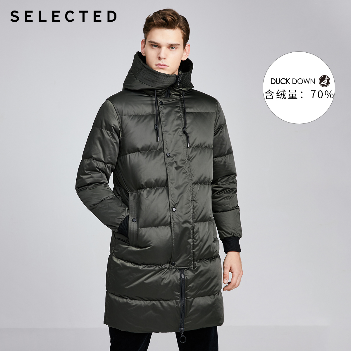 SELECTED Men's Winter Parka Coat Mid-length Hooded Clothes Hooded Duck Down Jacket S|419412581