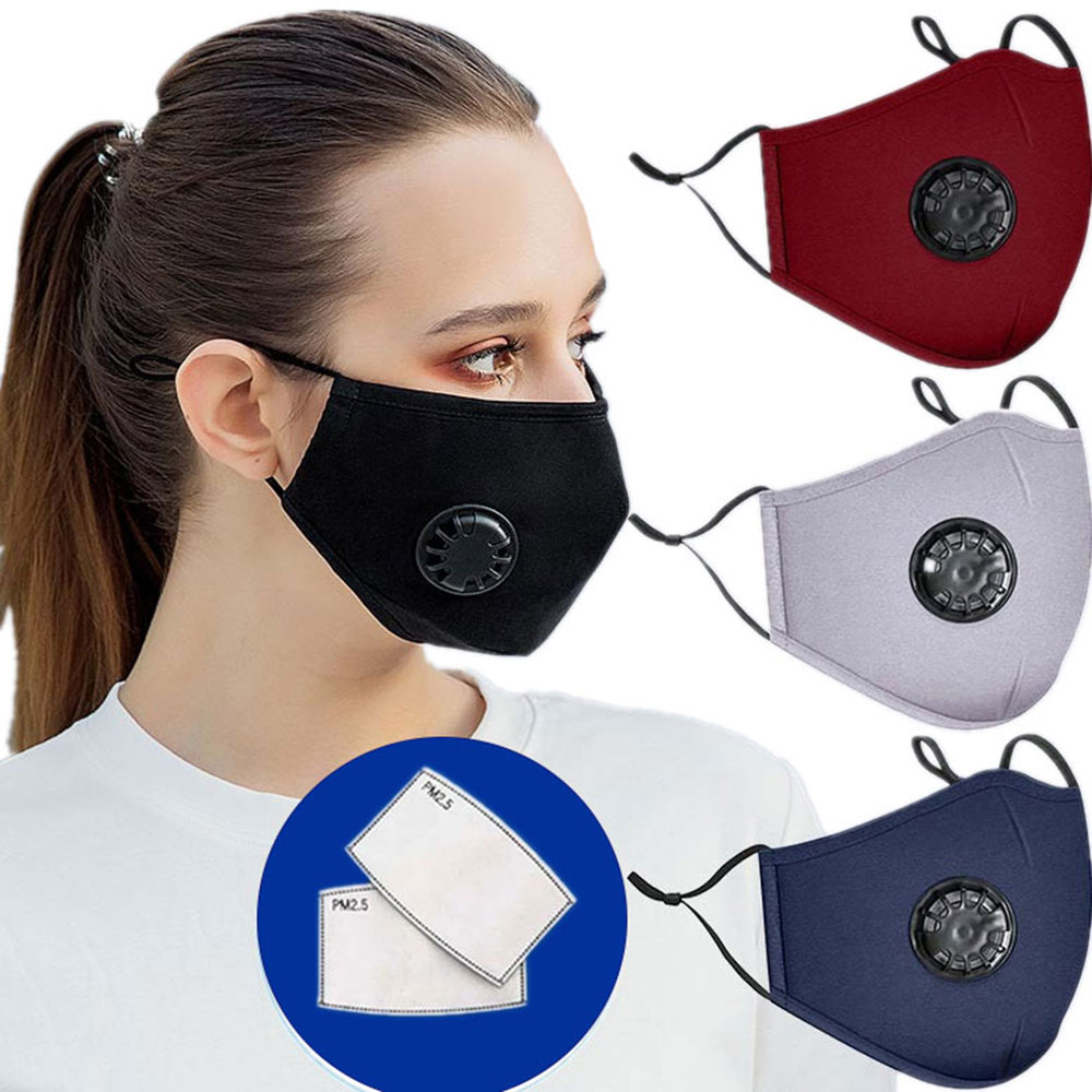 3PCS Reusable Cotton Face Mask Mouth Caps Breathing Valve Masque Visage Unisex Nonwoven Dustproof Black Protective Mascarillas|Masks| - AliExpress