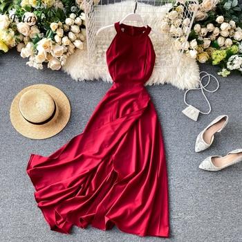 Fitaylor Summer Spring Elegant Knitted Halter Solid Sleeveless Vivid Color Women Female A-line High Waist Long Dress 1