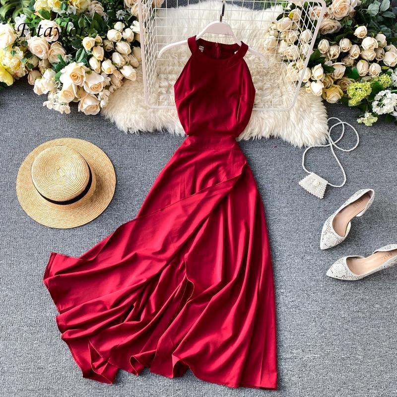 Fitaylor Summer Spring Elegant Knitted Halter Solid Sleeveless Vivid Color Women Female A-line High Waist Long Dress