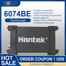 Hantek 6074be osciloscópios de armazenamento digital pc usb osciloscópios portáteis 4 canais 70mhz largura de banda suporte win10