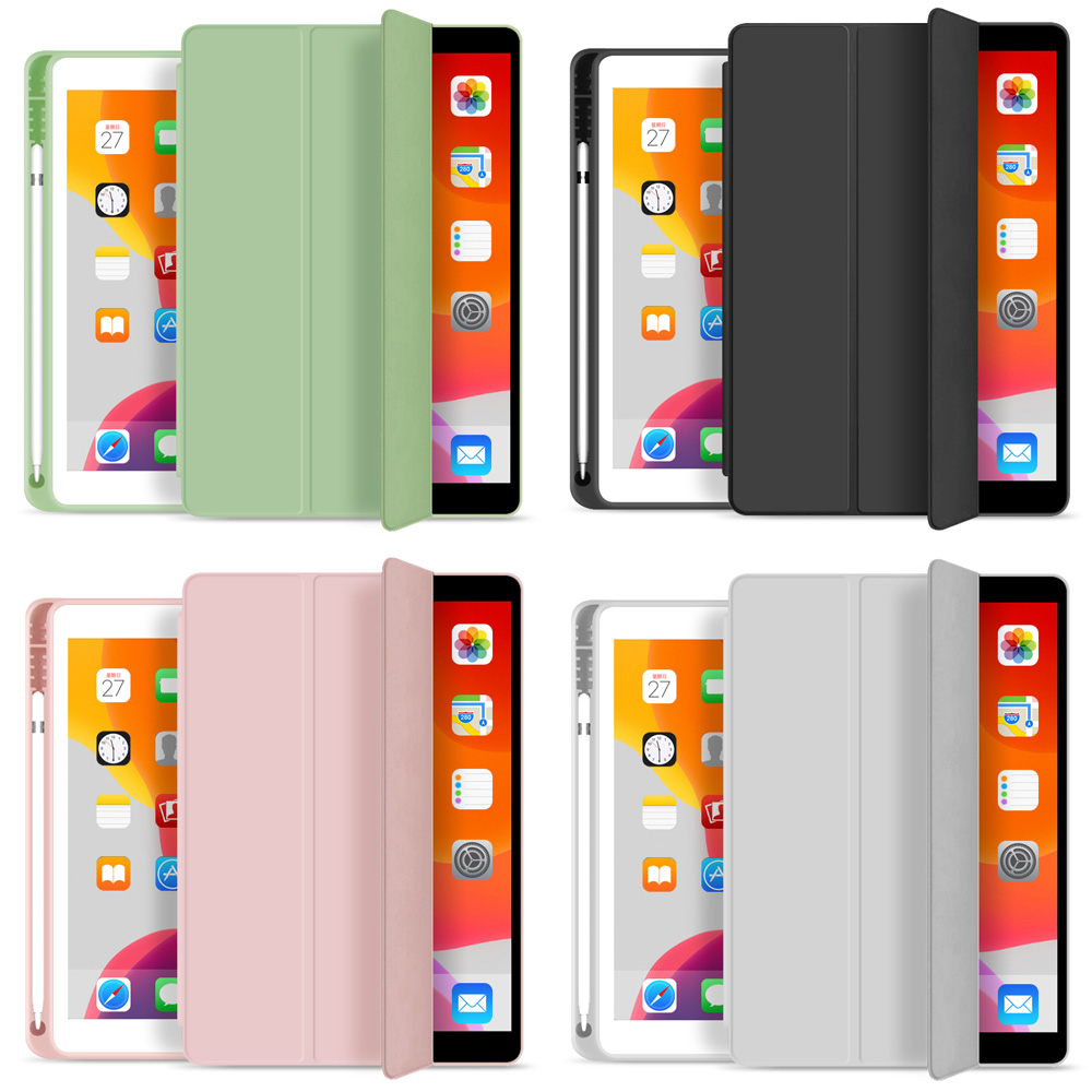 For New IPad 10.2 Inch 7th Gen 2019 Case With Pencil Holder , ZVRUA Slim Tri-fold PU Leather Smart Cover Have Wake Up Sleep