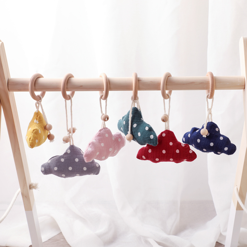 Baby Rattle Cotton Cloud Cartoon Baby Toys Teething Wooden Rings Colorful Wave Point Country Style Toys For Newborn Toys 1pc