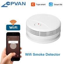 CPVan detektor dymu WiFi Alarm przeciwpożarowy Tuya/Smart Life APP detektor ognia czujnik dymu wysoka czułość niski poziom naładowania baterii przypomnienie