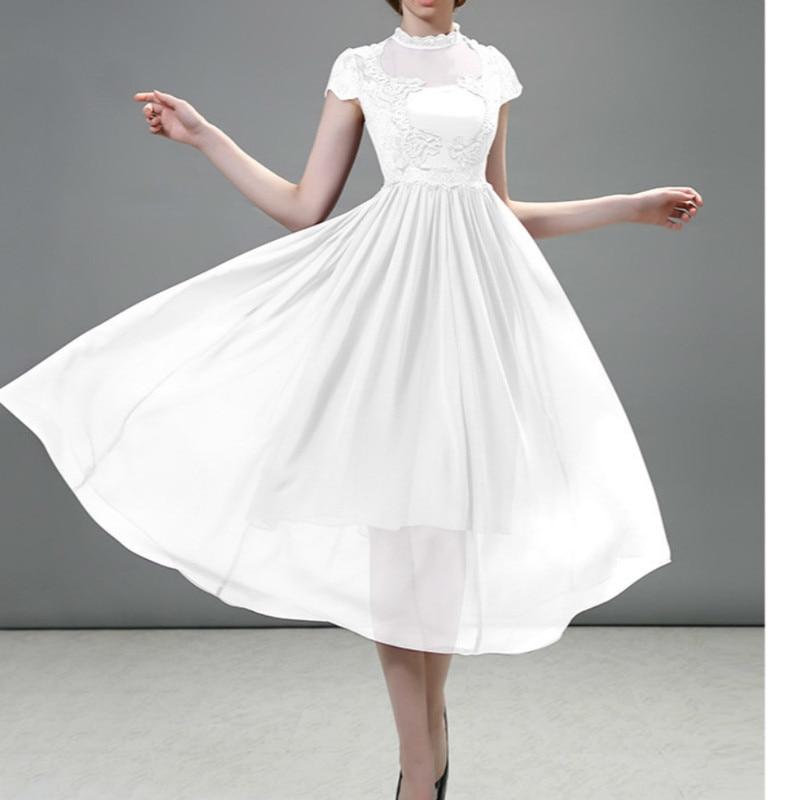 2019 été longue robe de soirée en mousseline de soie dentelle maille femmes élégante robe à manches courtes blanc noir violet Midi solide longue robe Vestidos
