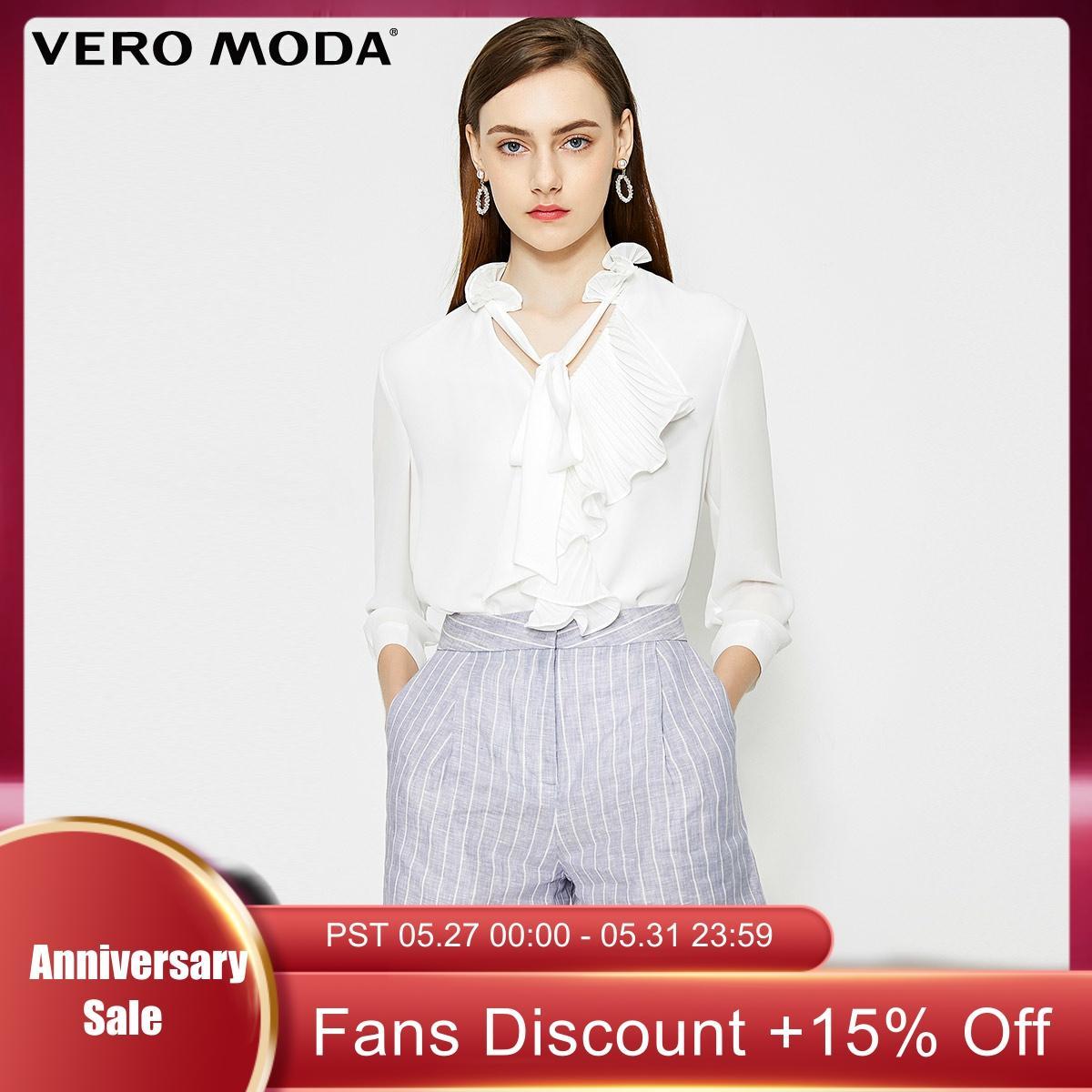 Vero Moda Women's OL Style Striped 100% Linen Shorts | 319215518