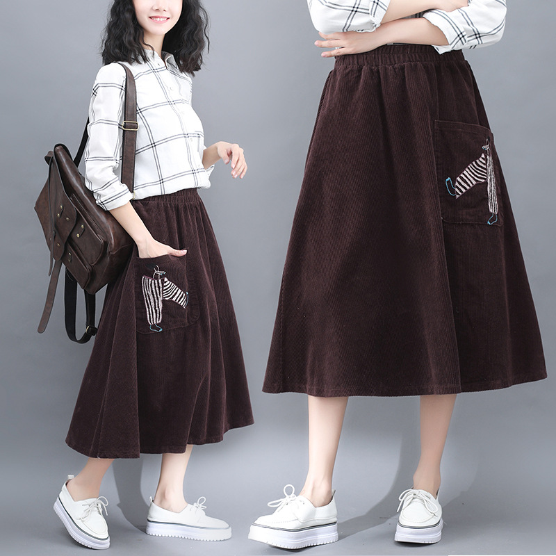 5127 Photo Shoot Price 562019 New Style Corduroy Long Skirts Embroidered Retro Slimming A- Line Skirt Skirt Women's