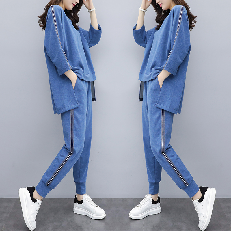 Plus Big Size Two Piece Set Top And Pants Suits Tracksuit For Women Outfits Striped Loose Matching Blue Clothing Ensemble Femme