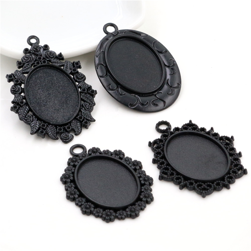 5pcs 18x25mm Inner Size Black Plated 4 Style Cameo Cabochon Base Setting Charms Pendant Necklace Findings