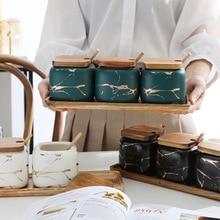 Tank-Set Spice-Jar Seasoning Marble-Pattern Salt Wooden-Cover Kitchen-Accessories Nordic-Style