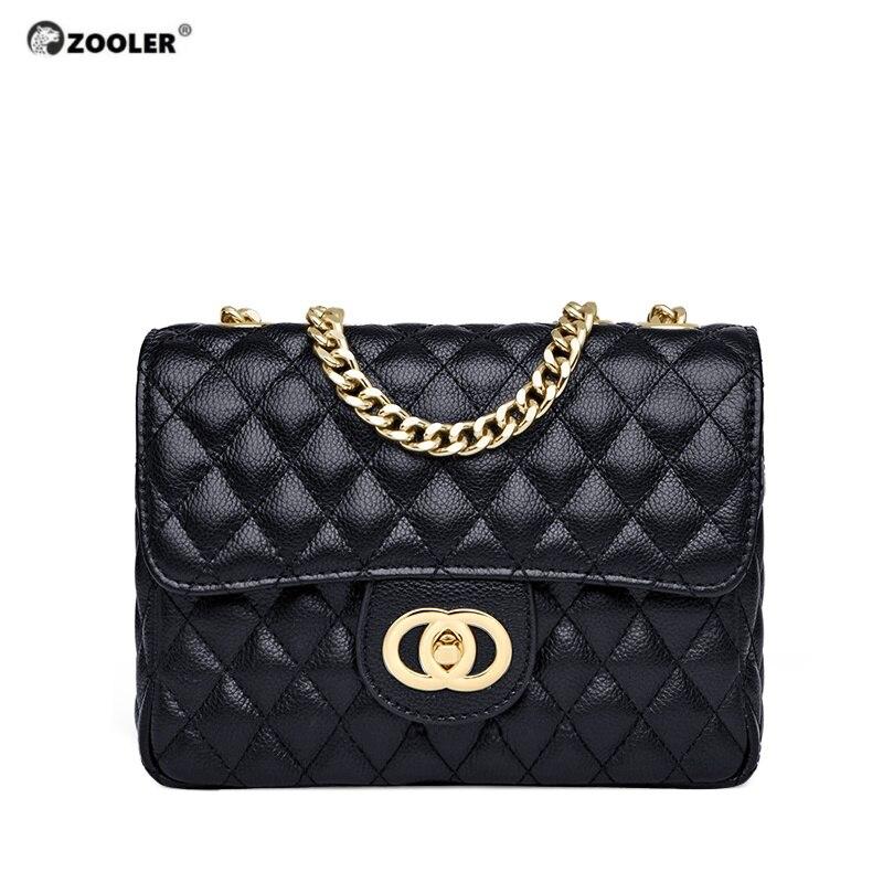 ZOOLER Hot Luxury Leather Messenger Bags Women Pattern Shoulder Bag Cross Body Elegant Cowskin Handbag Purse Small Black#B263