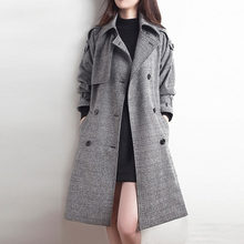 2020 Long Overcoat Jas Dames Jassen Winter England Windbreaker Loose Black Womens Coat Manteau Femme Hiver Coats Casaco Feminino(China)