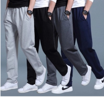 Spring And Summer Athletic Pants MEN'S Trousers Casual Loose Straight Fat Knitted Sweatpants Plus-sized Running Athletic Pants
